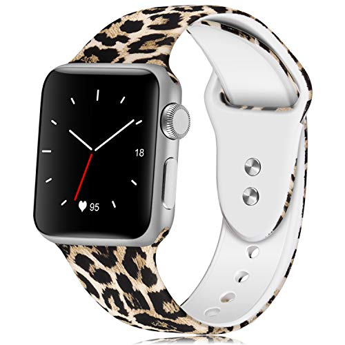 KOLEK Floral Band Compatible for Apple Watch 44mm 42mm, Soft Silicone Sport Bands Compatible for iWatche Series 1/2/3/4, S/M