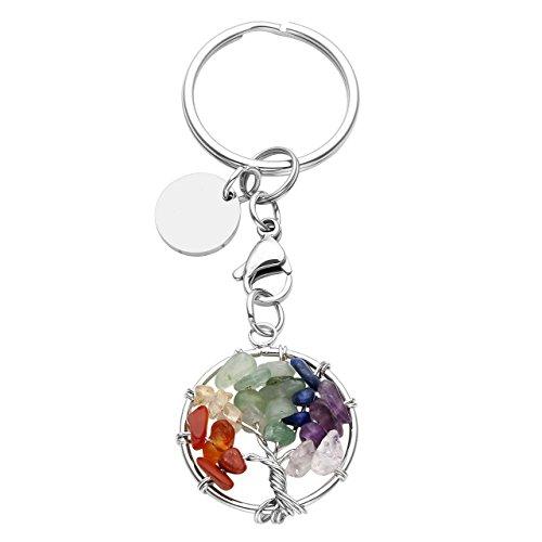 CrystalTears Tree of Life Keychain 7 Chakra Crystal Natural Chips Stones Handmade DIY -