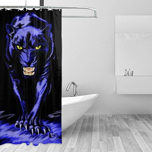 - Simoner Carolina Panther Drawing Shower Curtain,Fabric Bathroom Decor Set with Hooks 36x72 Inch Free 7-Pack Hooks