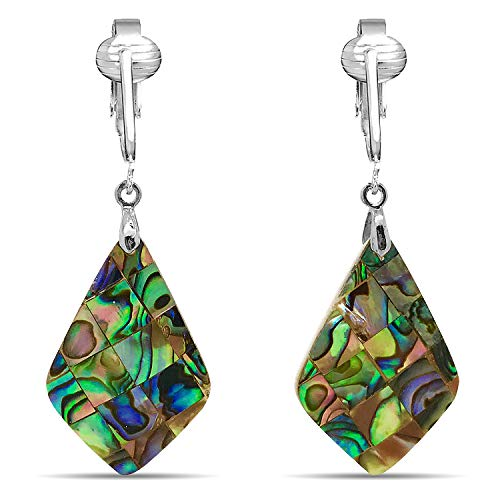 Tahitian-Style Abalone Paua Shell Clip On Earrings-Authentic Ocean Shells Romantic Holiday, Authentic (Paua Rhombus Drop)
