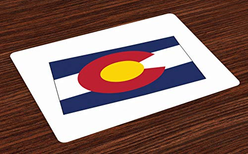 Lunarable Colorado Place Mats Set of 4, State Map with Flag Centennial Colorful United States, Washable Fabric Placemats for Dining Room Kitchen Table Decor, Night Blue White Vermilion Earth Yellow