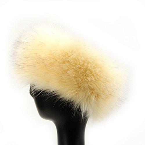 Dikoaina Womens Faux Fur Headband Winter Earwarmer Earmuff Hat Ski (Beige) (Hat White Fur)