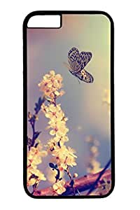 Brian114 Pink Peach Blossoms And The Butterfly 3 Phone Case for the iPhone 6 Plus Black