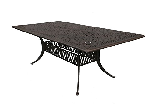 Darlee Elisabeth Cast Aluminum Rectangular Dining Table, 44'' X 84'', Antique Bronze Finish