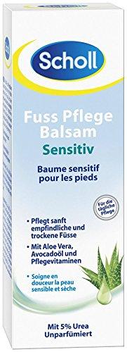 Scholl Fußpflege-Balsam sensitiv, sanfte Fußpflege mit Aloe Vera, trockene Füße, Feuchtigkeitscreme, 3er Pack (3 x 75 ml) trockene Füße 3029446