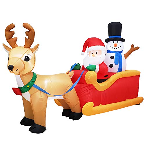 Poptrend Inflatable Christmas Decorations 6.5 Foot Inflatable Santa's Sleigh, Christmas & X'mas Yard Inflatables with Bright LED Christmas Lights - Wacky, Funny, Colorful, Festive Holiday Spirit (Funny Spirit Pics Christmas)