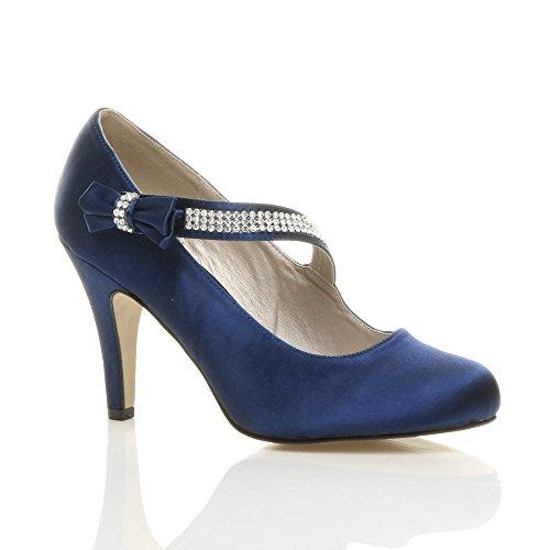 Femmes talon haut sangle nœud strass mariage chaussures babies escarpins taille Bleu Marine avec Strass