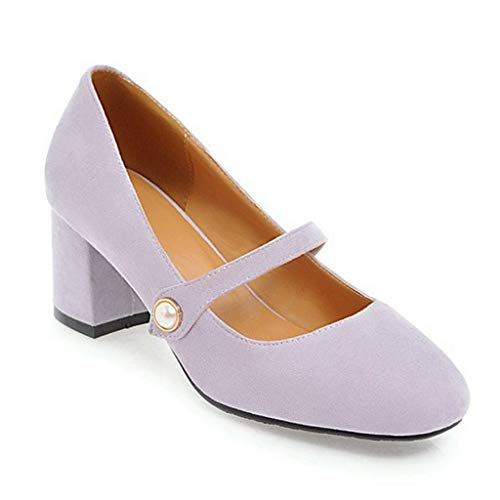- Women's Pearl Ankle Strap Mary Janes Block Mid Heel Pumps Shoes Slip-On Causal Dress Shoe Purple