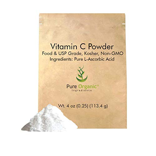 Vitamin C Powder (4 oz.) by Pure Organic Ingredients, Eco-Friendly Packaging, L-Ascorbic Acid, Antioxidant, Boost Immune System, DIY Skin Care