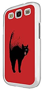 974 - Cool Fun Black Cat Art Design For Samsung Galaxy S3 i9300 Fashion Trend CASE Back COVER Plastic&Thin Metal - White