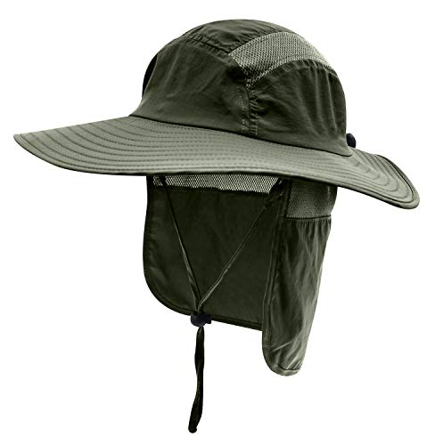 - Home Prefer Mens UPF 50+ Sun Protection Cap Wide Brim Fishing Hat with Neck Flap (Army Green)