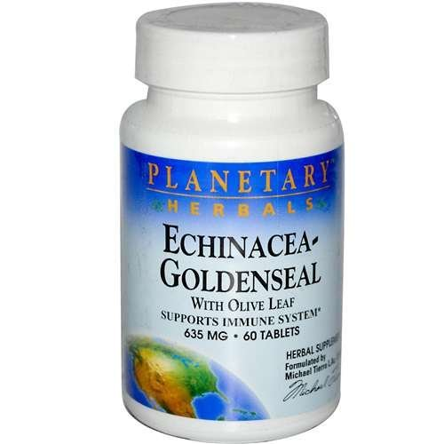 Echinacea 60 Tablets - Planetary Herbals Echinacea Goldenseal with Olive Leaf -- 635 mg - 60 Tablets by Planetary Herbals