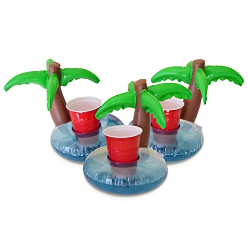 GoFloats Inflatable Palm Island Drink Holder (3 Pack), Float your drinks in style - Pool Coasters