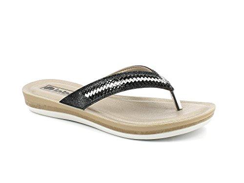 AARZ LONDON Frau Damen Diamant Jeden Tag Tragen Beiläufig Schlüpfen Komfort Super Leicht Sommer Sandalen Schuhe Größe Schwarz