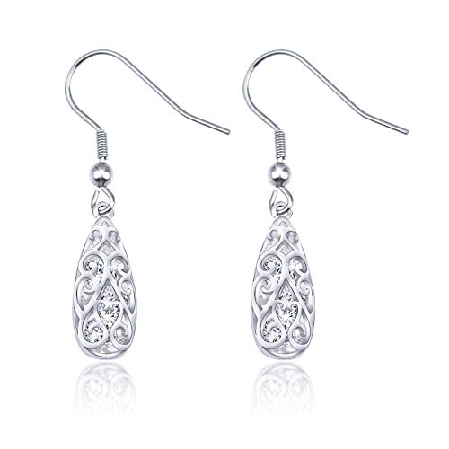 Dangle earrings Filigree Tear Drop Earrings with Crystal For Women Girls Gift - Crystal Earrings Swarovski Filigree