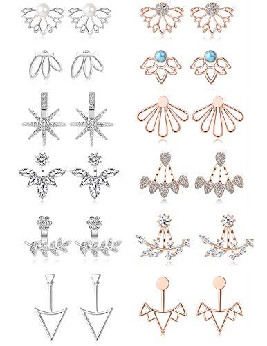 Tornito 12 Pairs Lotus Flower Earring Studs Chic CZ Earrings Jackets For Women Girls Silver Rose Gold Tone (A2:12 Pairs, Silver&Rose Gold Tone) - Front Back Earrings