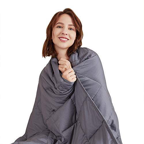 Hiseeme Weighted Blanket for Adult | 48x72, 17lbs, Twin Size | Birthday Gifts for Women | Heavy Throw Blanket for Deep Sleep | Dark Grey