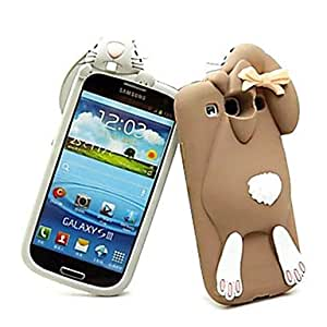 PEACH ships in 48 hours Solid Rabbit Silicone Case for Samsung S3 I9300 (Assorted Color) , Brown