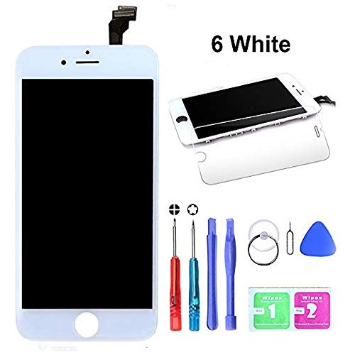 - HTECHY Compatible with iPhone 6 Screen Replacement White- Compatible for iPhone 6 Digitizer LCD Touch Screen Display Assembly with Complete Repair Tools Kit Including Screen Protector(4.7 Inch)