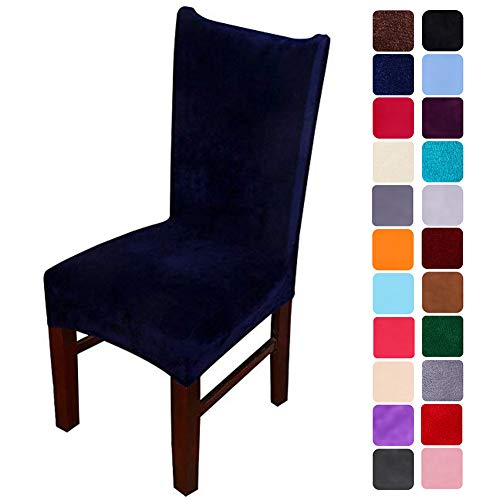 smiry Velvet Stretch Dining Room Chair Covers Soft Removable Dining Chair Slipcovers Set of 4, Navy Blue (Dining Chair Slipcovers Blue)