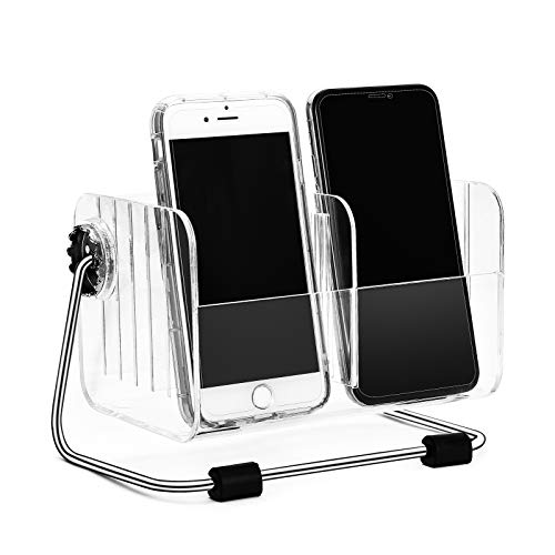 Pasutewel TV Remote Control Holder,360° Rotate Acrylic Clear Remote Control Organizer Caddy Storage Box with 6 Removable Case for Table Desk Bedside