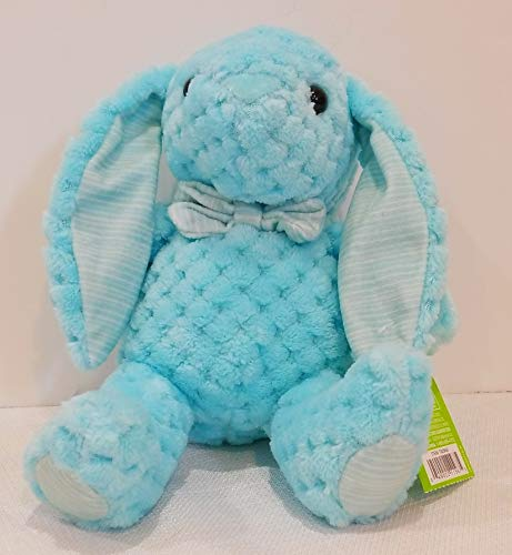 Kelly Toy inch Blue Waffle Plush Bunny with Plaid Trim + 5 inch Ears (Bunny Blue Plush Rabbit)
