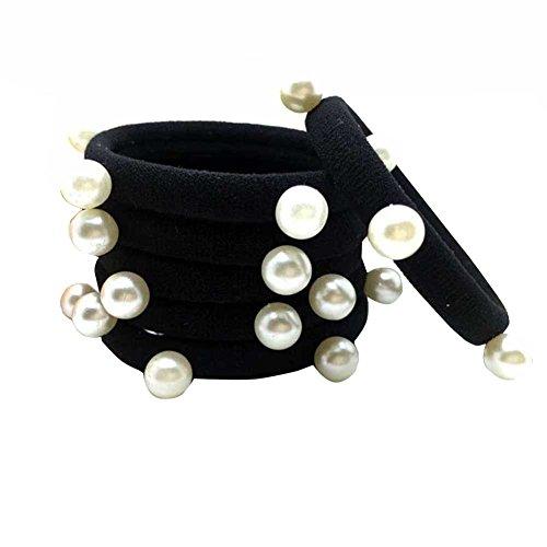 Zeroyoyo 10pcs Women Girls Thick Hair No-damage Elastic Hair Ties Pearl Band Ropes Ring Hair Ponytail Holder (Pony Pearl)