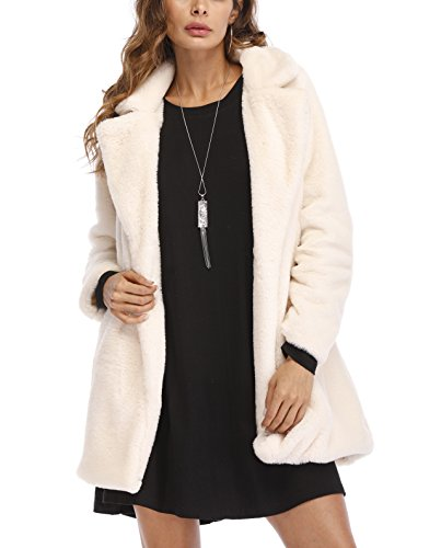 Remelon Womens Long Sleeve Winter Warm Lapel Fox Faux Fur Coat Jacket Overcoat Outwear with Pockets White XL