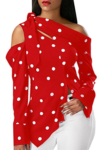Ybenlow Women Summer Cold Shoulder Vintage Polka Dot Print Pullover Shirt Top Blouse,Red,X-Large (Blouse Ruffle Dot)