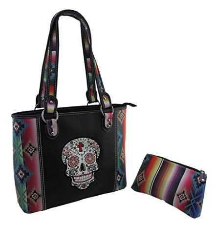 Sugar Womens Bag - Western Tote Bag - Day of the Death Sugar Skull Serape Print wit Matching Serape Print Wallet