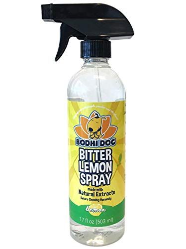 NEW Bitter Lemon Spray | Stop Biting and Chewing for Puppies Older Dogs & Cats | Anti Chew Spray Puppy Kitten Training Treatment | Non Toxic | Professional Quality - Made in USA - 1 Bottle 17oz(503ml) (Best No Chew Spray)