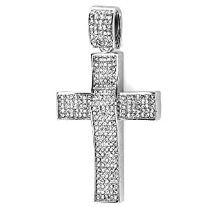 Platinum Plated White CZ Cubic Zirconia Hip Hip Iced Micro Pave Mens Religious Cross Pendant (3 inch x 1.75 inch)