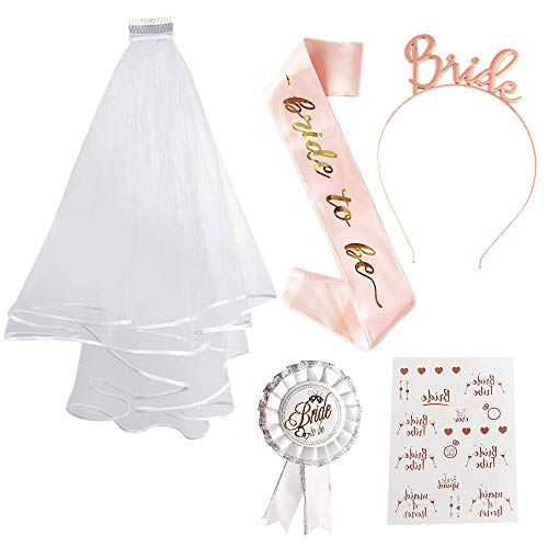 Bride to Be Sash and Veil SPECOOL Hen Party Set Tattoos Hen Do Accessories for Bridal Shower Hen Party Decoration