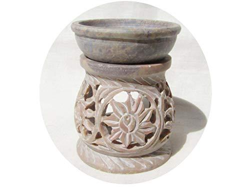 mysticalindia Handmade Soapstone Oil Burner, Oil Diffuser, Oil Warmer, Candle Holder Carved Flower Design.