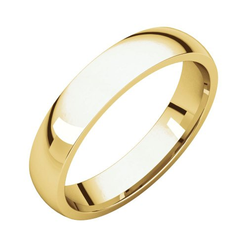 Security Jewelers 10k Yelllow Gold 4mm Light Comfort Fit Band, 10kt Yellow Gold, Ring Size 11