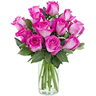 Purchase Now for Delivery by Monday | Arabella Farm Direct Bouquet of 12 Stems of Fresh Cut Hot Pink Roses in a Free Designer Glass Vase