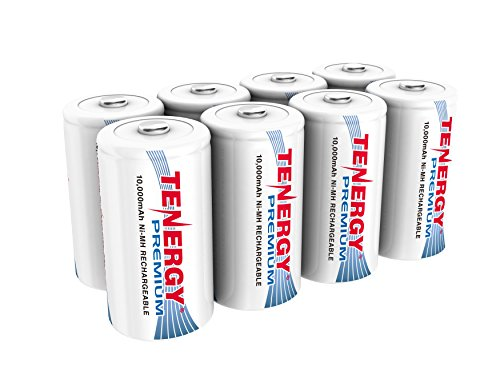 - Tenergy 8 pcs of Premium D Size 10,000mAh High Capacity High Rate NiMH Rechargeable Batteries - UL Certified