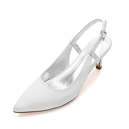 Party Spool 8 Satin Wedding L Pumps Toe Closed High Heels YC Women Shoes Prom Silver D99634 Pointed 66xCqA