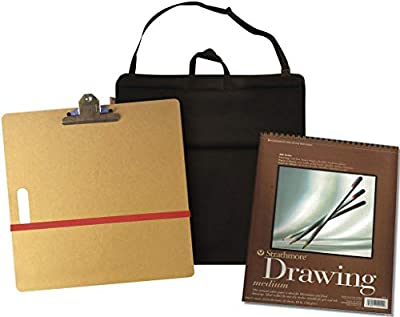 Drawing Board Set with Spiral Sketch Book, Sketch Pad, Bristol, Sketch and Drawing Papers, Charcoal Drawing Set, Graphite Pencil Set, Color Pencils, and 'Perspective' Instruction Book