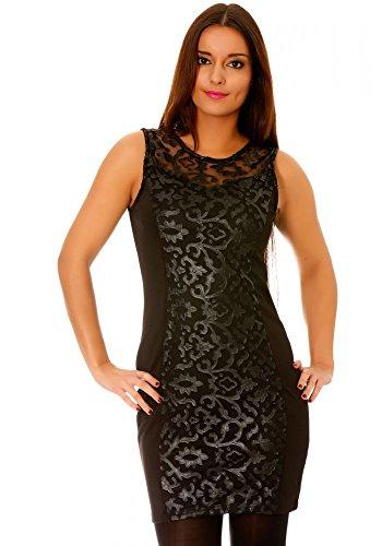 dmarkevous - Robe droite courte noire et moulante empiècements Tulle et motifs baroques en sky - M-L, noir