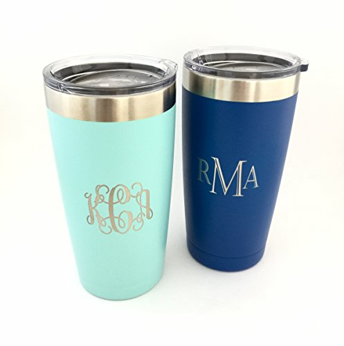 Monogrammed Tumbler - Custom Monogram Powder Coated Insulated Tumbler 20oz Choose Your Color