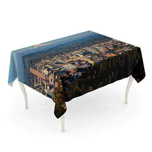 (Tarolo Rectangle Tablecloth 60 x 84 Inch Skyline Cityscape of Portland Oregon and Mount Hood Towering in Distance Autumn Afternoon Mountain City Table)