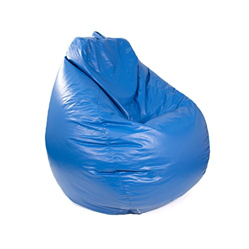 Gold Medal Bean Bags Tear Drop Leather Look Vinyl Bean Bag, Large, Medium Blue