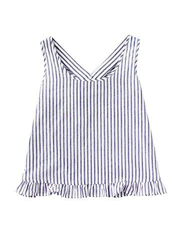 Cami Ruffle Trim (Verdusa Women's Scoop Neck Bow Back Ruffle Trim Striped Top White & Blue S)