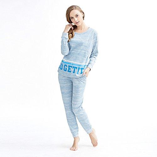 damas pijamas de algodón/cuello redondo impresas set pijama/Ocio familiar simple ropa trajes A