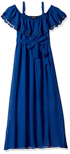 Amy Byer Big Girls' Sleeveless Maxi Dress with Front Ruffle, Navy, 8 (Dress Front Ruffle)