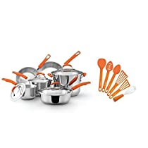 Rachael Ray 16 Piece Cookware Set and Cooking Utensil Set in Orange