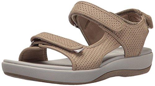41IPxv6KeRL Clarks Women's Brizo Sammie Flat Sandal, Sand Perforated Microfiber, 6.5 M US