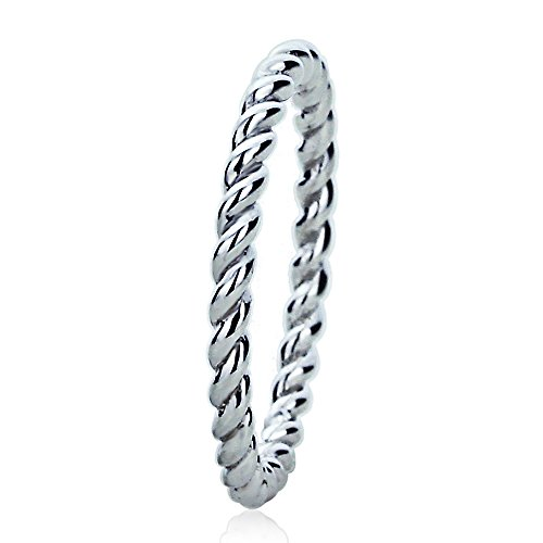 14K White Gold 2mm Plain Band Braided Rope Design Wedding Band, 6