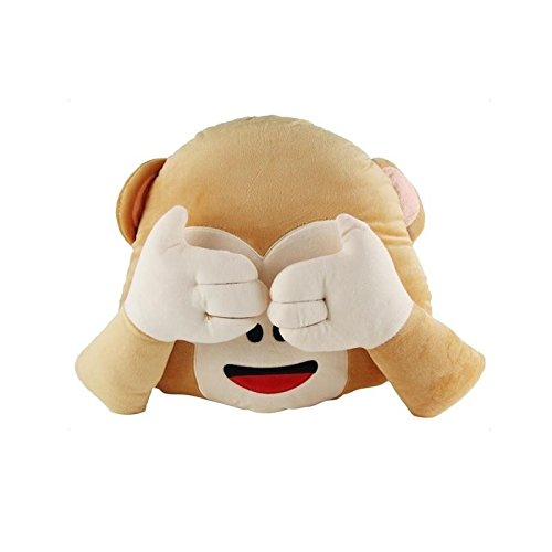 Ln 13.25 x 13.5 Kids Cute Brown Monkey Pillow Covering Eyes Emoticon, Beige Adorable Jungle Animal Cushion Shape of Monkey Emoji, Indoor Use Microplush